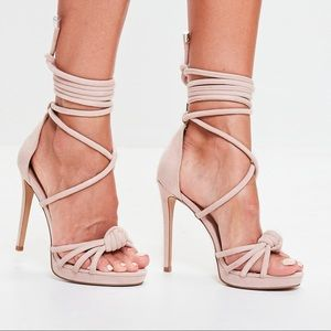 Missguided Nude Knot Front Platform Sandals